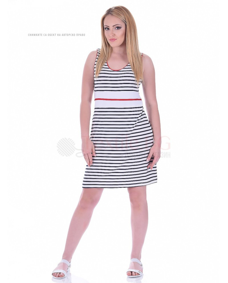 Дамска рокля райе с широка презрамка