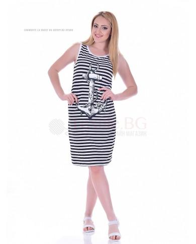 Дамска рокля райе със ситопечат котва