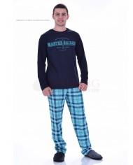 Мъжка памучна пижама с каре панталон в четири цвята