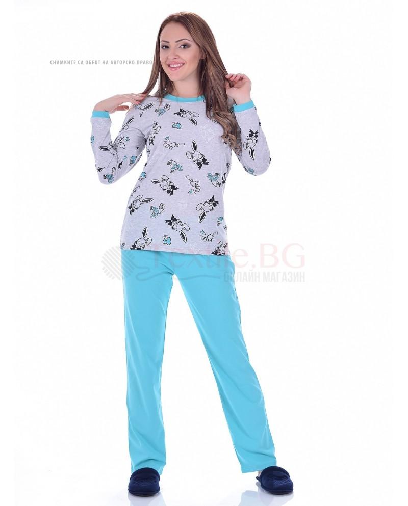 Памучна дамска пижама зайчета в две цветови комбинации