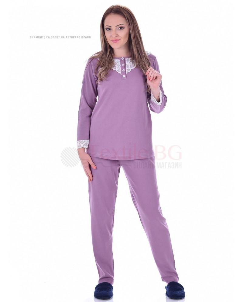 Дамска пижама интерлог с дантела в три топли нюанса