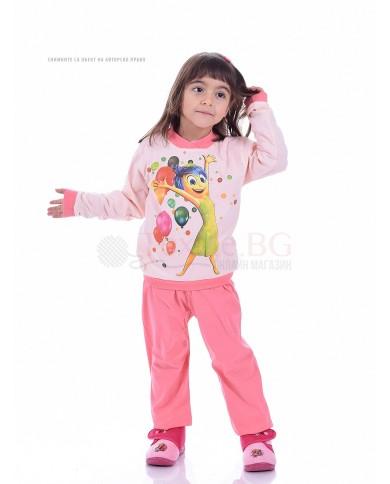 Детска памучна пижама момиче със ситопечат в три цвята