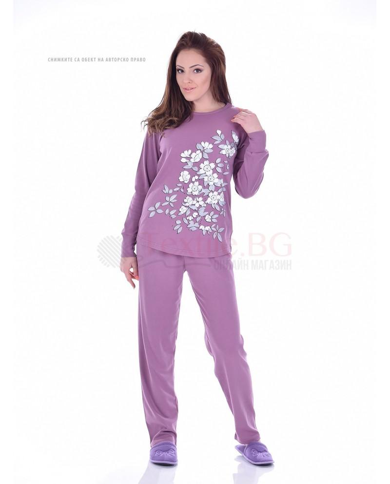 Дамска пижама пениран интерлог сингъл с орнаменти цветя