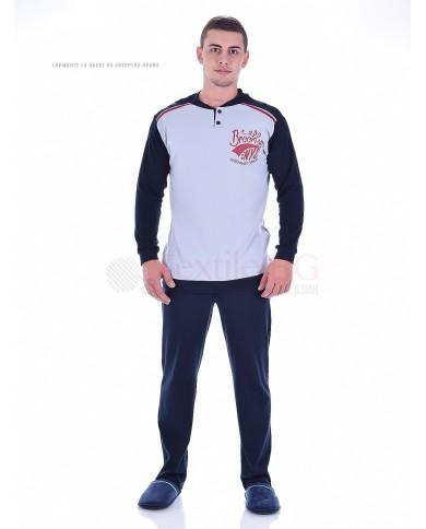 Стилна мъжка пижама пениран интерлог с копчета и ситопечат в три варианта