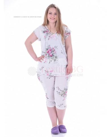 Красива макси дамска пижама рози къс ръкав с веобразно деколте