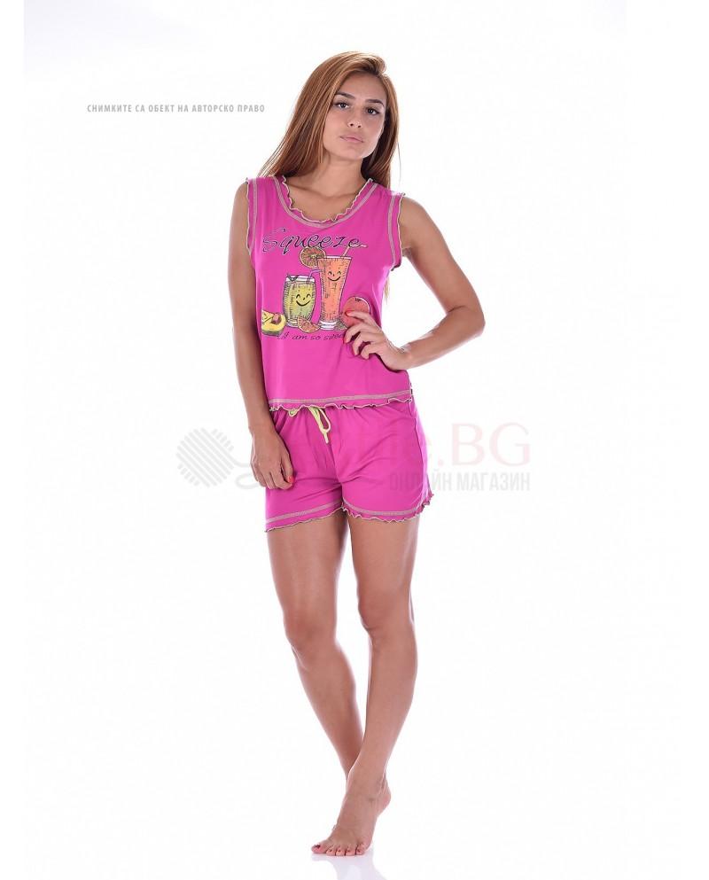 Дамска лятна пижама с потник и къси панталони-фрешчета