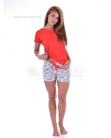 Дамски къс панталони в десен на кончета с красива сатенена панделка