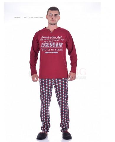 Стилна мъжка пижама с каре панталон в две цветови комбинации