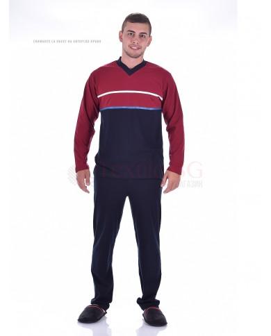 Комфортна мъжка пижама в двуцветна комбинция с ленти и остро деколте