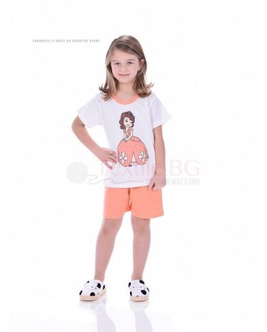 Детска пижама момиче къс ръкав със ситопечат в три свежи комбинации