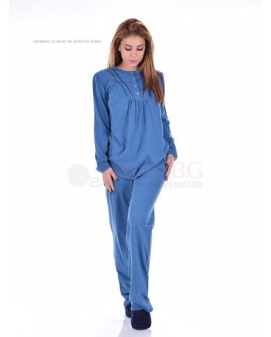 Дамска семпла пижама дълъг ръкав с копчета в три актуални цветове