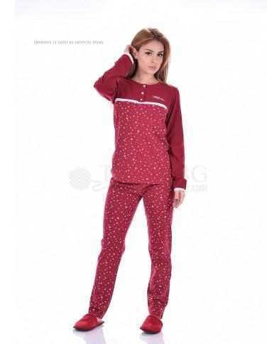 Дамска пижама дълъг ръкав в две ефектни комбинации със звезди
