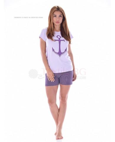 Дамска лятна пижама къс ръкав и къс панталон с декорация котва