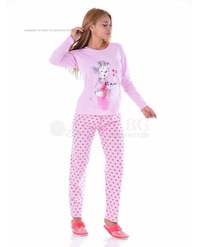 """Дамска памучна пижама с декорация """"Мини Маус"""""""