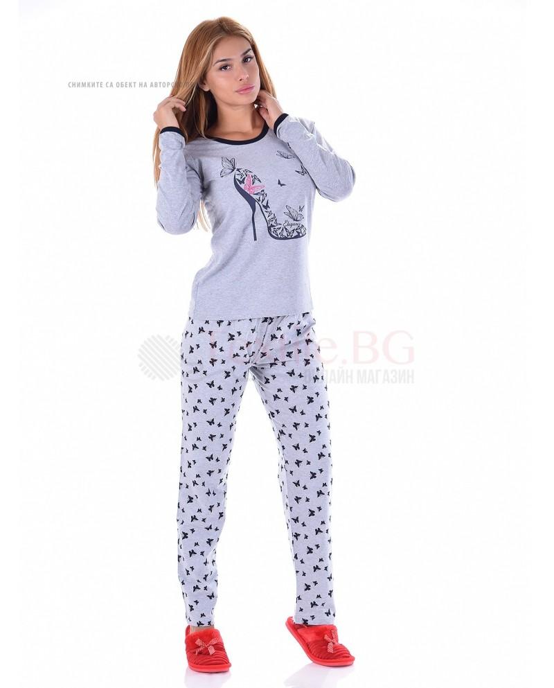 Дамска памучна пижама в десен с красиви пеперуди