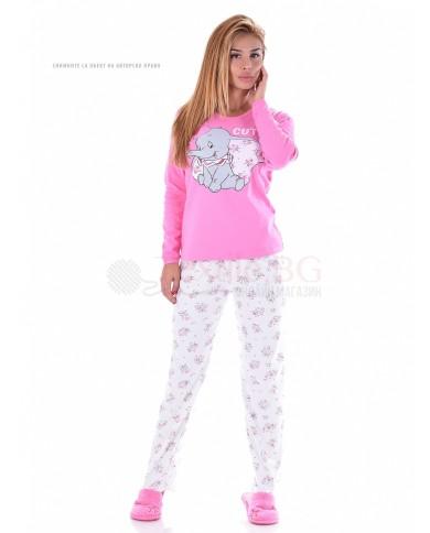 Дамска пижама интерлог в три нежни съчетания с декорация слонче