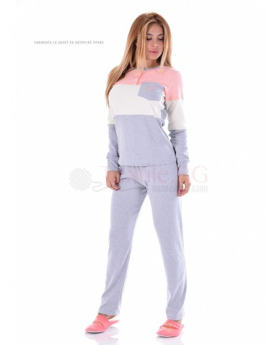Дамска пижама интерлог три приятни съчетания с джоб