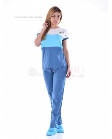 Дамска пижама къс ръкав с цветни платки и дълъг панталон