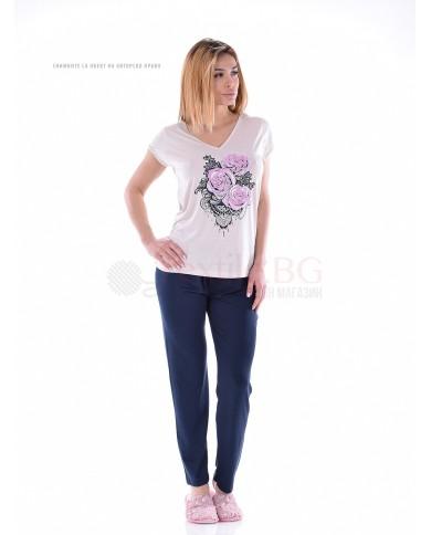 Дамска пижама къс ръкав и дълъг панталон с красив ситопечат рози