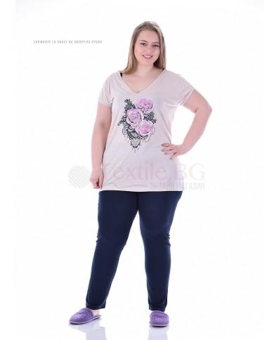 Дамска макси пижама къс ръкав и дълъг панталон с красиви рози