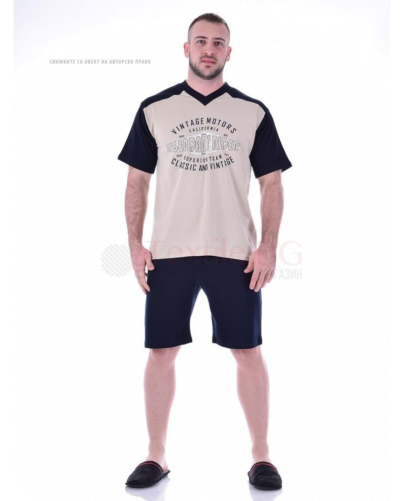 Kомфортна мъжка пижама къс ръкав и къс панталон с остро деколте в четири комбинации