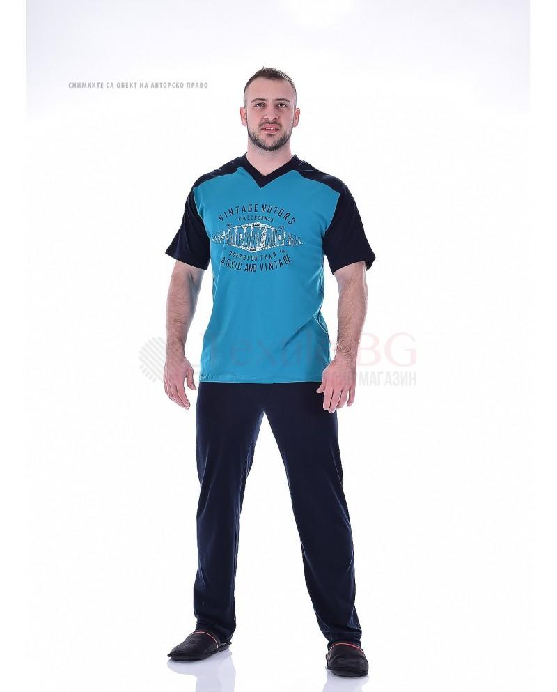 Kомфортна мъжка пижама къс ръкав и дълъг панталон с остро деколте в три комбинации