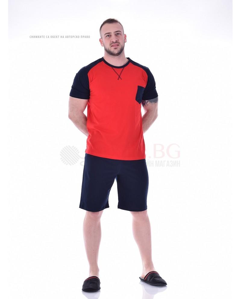 Комфортна мъжка пижама къс ръкав с джоб в три комбинации