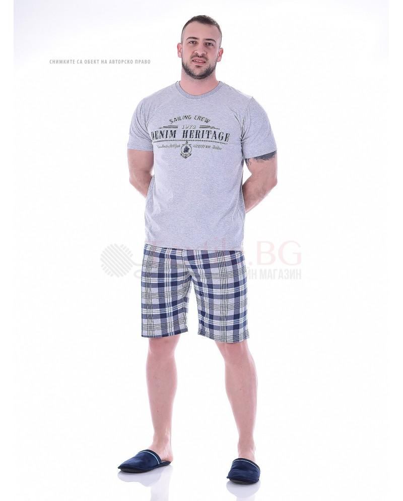 Mъжка пижама с къс ръкав в три комбинации с каре панталон