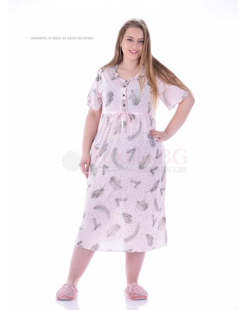 Дамска макси нощница къс ръкав с копчета в нежен десен с листа