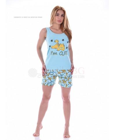 """Лятна дамска пижама с потник и къси панталони """"Гарфилф"""""""