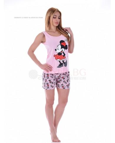 """Лятна дамска пижама с потник и къси панталони """"Mаус"""""""