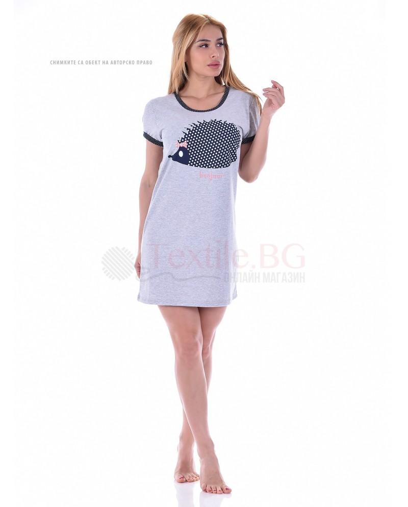 Памучен дамски блузон къс ръкав с декорация таралеж