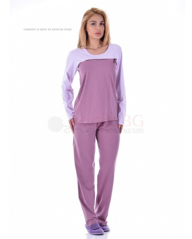 Семпла дамска пижама със сатенена панделка за декорация