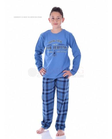 Юношеска пижама момче със ситопечат и каре панталон в две цветови комбинации