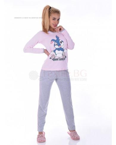 Памучна дамска пижама със ситопечат заек в три комбинации