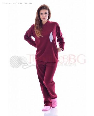 Плътна дамска пижама от хавлия с апликация листо