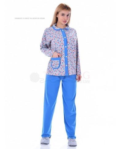 Дамска пижама дълъг ръкав с яка в две комбинации с десен на точки