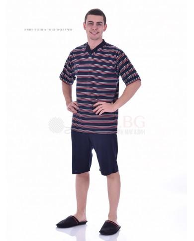 Мъжка пижама къс ръкав раета и веобразно деколте в три варианта