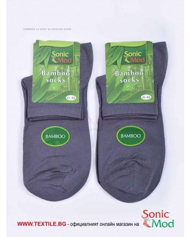 Тъмно сиви мъжки чорапи бамбук с къс конч СОНИК МОД