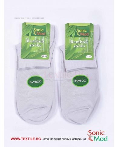 Светло сиви мъжки чорапи бамбук с къс конч СОНИК МОД