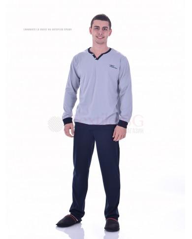 Стилна мъжка пижама с маншети в три цветови комбинации