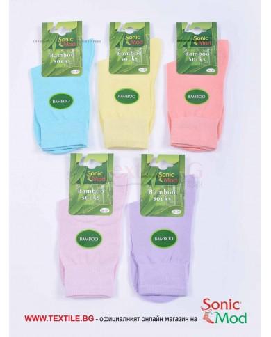 Комплект от 5 бр. дамски чорапи бамбук в бонбонени цветове СОНИК МОД
