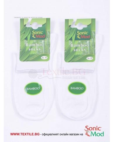 Бели дамски чорапи бамбук с къс конч СОНИК МОД