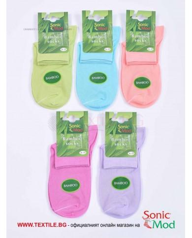 Комплект от 5 бр. дамски чорапи бамбук с къс конч в бонбонени цветове СОНИК МОД