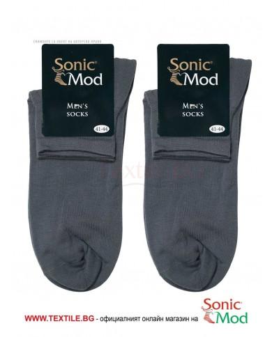 Тъмно сиви мъжки чорапи с къс конч памук/ликра СОНИК МОД