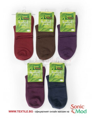 Комплект от 5бр. дамски чорапи с къс конч бамбук/ликра в тъмни цветове СОНИК МОД