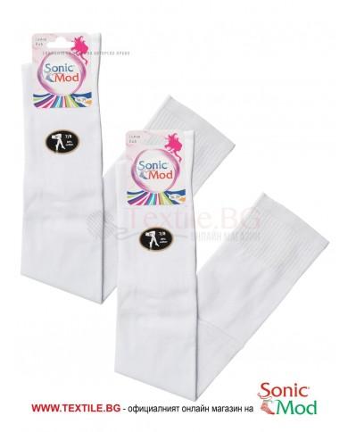 Бели дамски ⅞ чорапи памук/ликра СОНИК МОД