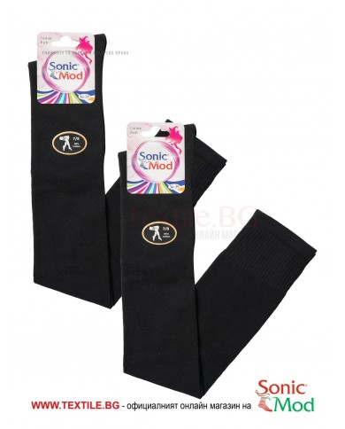 Черни дамски ⅞ чорапи памук/ликра СОНИК МОД