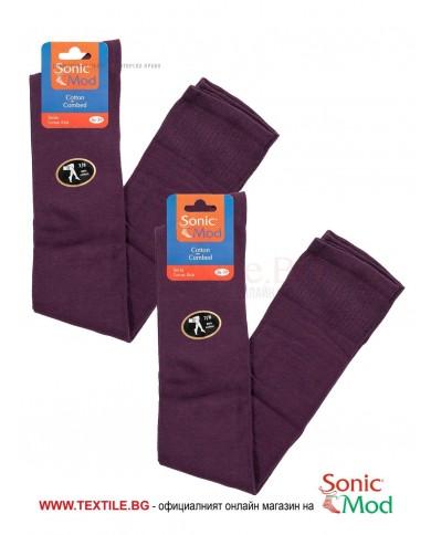 Тъмно лилави дамски ⅞ чорапи памук/ликра СОНИК МОД