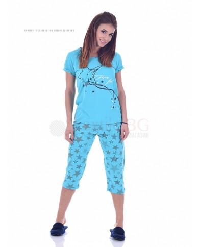 Памучна дамска пижама къс ръкав със звезди в три десена